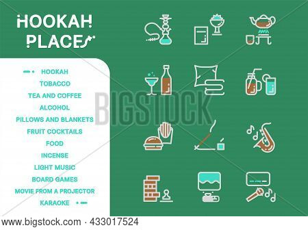 Simple Vector Icon Line And Fill Set. Hookah Place Collection: Hookah, Tobacco, Tea, Coffee, Alcohol