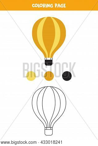 Coloring Page With Cartoon Air Balloon. Worksheet For Children.