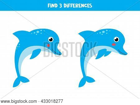 Find Three Differences Between Two Pictures Of Cute Dolphins.