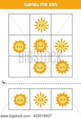Sudoku With Three Pictures For Preschool Kids. Logical Game With Cute Suns.