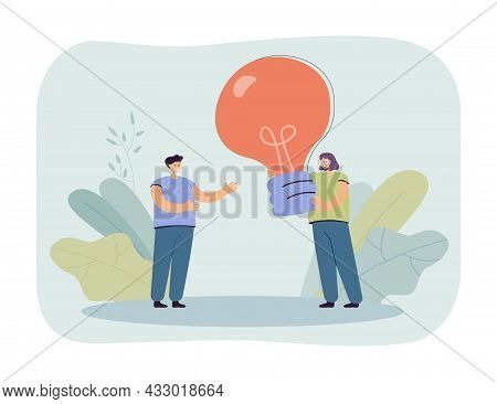 Cartoon Woman Giving Giant Lightbulb To Man. Female Character Helping Male With Ideas Flat Vector Il