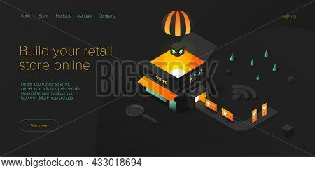 Online Retail Store Transportation In Isometric Vector Design. Shop Delivery Service And Truck Logis