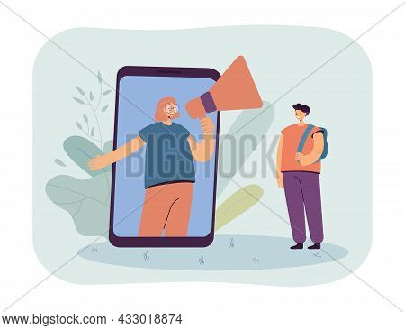 Classmate With Megaphone On Huge Phone Screen Giving News To Boy. Girl Sharing Information Flat Vect