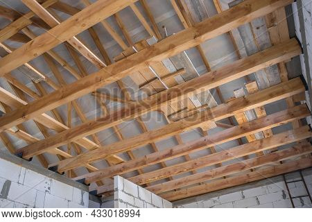 New Construction Of The House. Construction With Wooden Roof, Pillar And Frame Beams. Roofing Struct