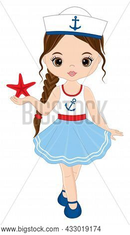 Vector Teen Cute Girl Wearing Nautical Dress And Captains Cap. Beautiful Girl Holding Starfish. Cute