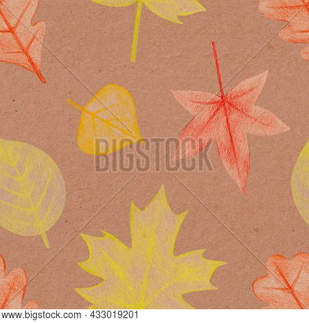 Seamless Pattern With Hand Drawn Yellow, Red, Maple, Oak Leaves With A Rough Texture. Plant Drawing