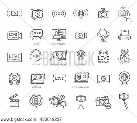 Vector Live Streaming Icons. Stream Broadcast Online Meeting Zoom