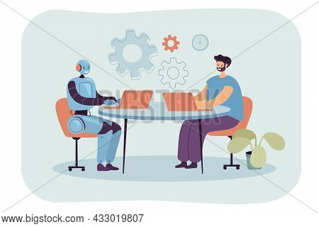 Cartoon Man And Robot Sitting At Laptops In Workplace Together. Male Character Using Ai As Workforce