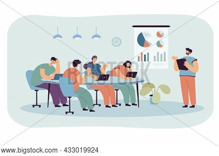 Office Cartoon People Listening To Boring Presentation. Speaker Or Manager Giving Tiresome Lecture T