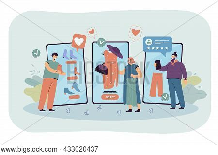 Customers Using Mobile App To Buy Clothes In Online Shop. People Shopping In Internet Store On Huge