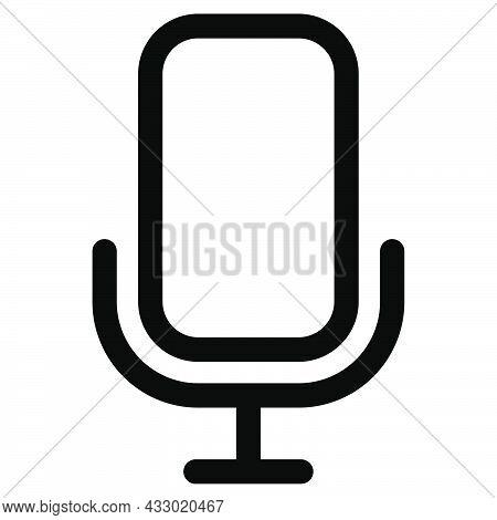 Mic Icon. Outline Microphone Symbol. Audio Pictogram. Music Symbol In Black