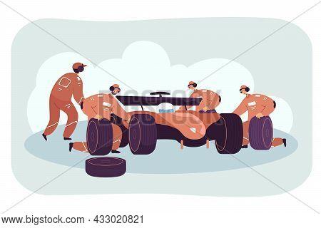 Team Of Mechanics Repairing Race Car On Pit Stop. Racer In Auto, Technicians In Uniform Changing Tir