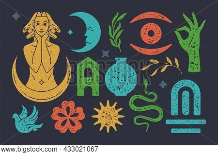 Antique Goddess With Crescent Surrounded Stars. Mystical Eye With Snake And Magical Gate. Vector Eso