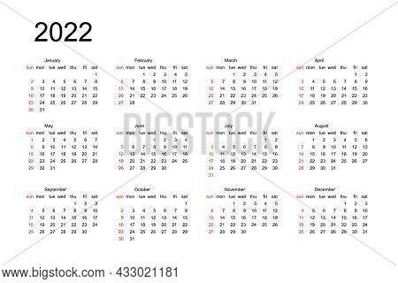 2021 Year Black And Red Calendar. Month Countdown Page Set. Day, Week. Date And Schedule. Printable