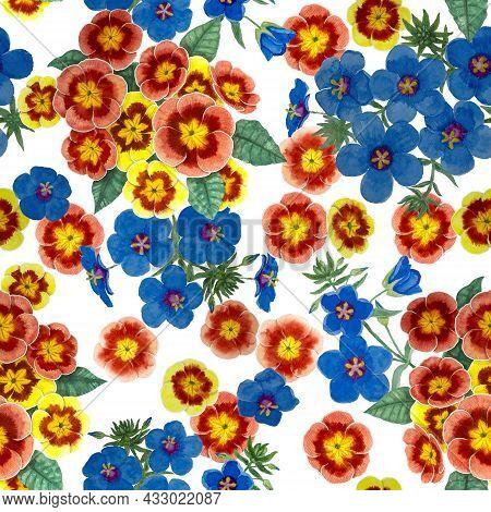 Orange Pimpernel And Blue Scarlet Flower Blossom On White Color Background, Watercolor Blue Petals F