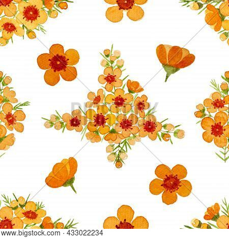 Orange Color Petals Of Wax Flower Blossom Seamless Pattern Illustration, Watercolor Flora Painting I