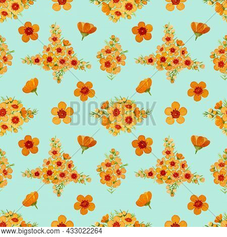 Orange Color Petals Of Wax Flower Blossom Seamless Pattern Illustration, Watercolor Flora Painting O