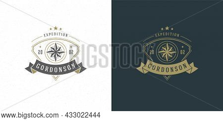Wind Rose Logo Emblem Vector Illustration Outdoor Expedition Adventure Compass Silhouette