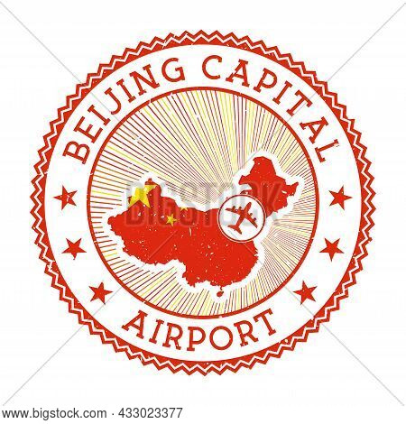 Beijing Capital Airport Stamp. Airport Logo Vector Illustration. Beijing Aeroport With Country Flag.