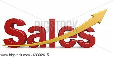 Sales Word With Upward Golden Arrow, 3d Rendering
