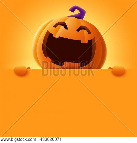 3D illustration of cute Jack O Lantern orange pumpkin character with big blank signboard on orange background. Wide copy space for design.