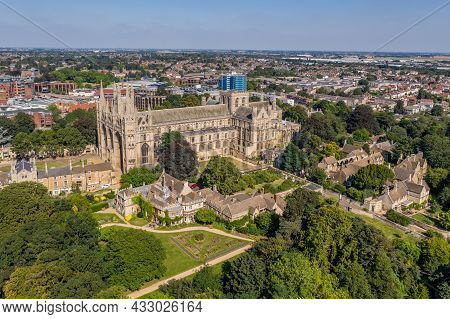 Peterborough, Uk - September 7, 2021.  An Aerial Cityscape Of Peterborough Cathedral And Vivacity Li