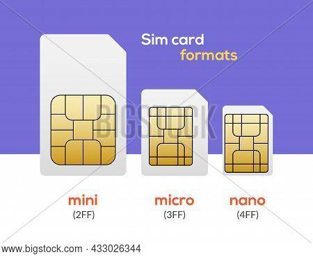 Sim Card Nano Chip, Micro Simcard Isolated Mini Size Vector Icon