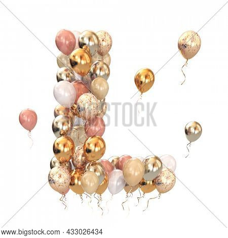 Letter L from balloons isolated on white. Text letter for holiday, birthday, celebration. 3d illustration