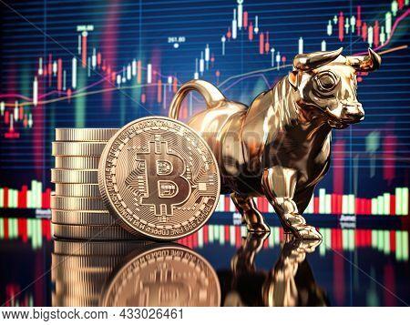 Bitcoin coin with bull and stock chart. Bullish market of BTC. 3d illustration