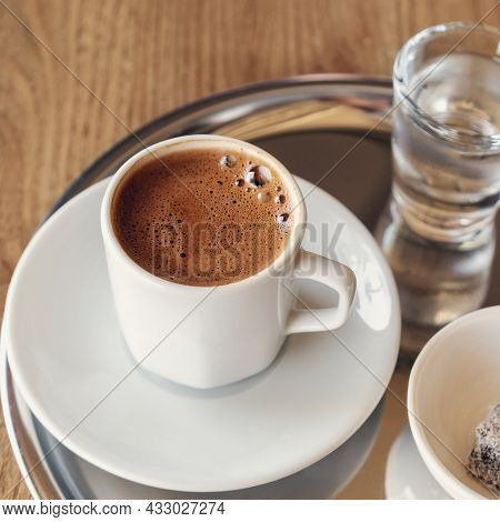 Traditional Turkish Coffee With Cold Water And Turkish Delight - Image