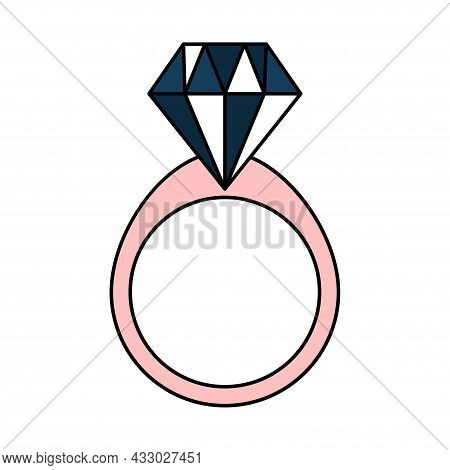 Number With A Diamond. Wedding Ring For The Proposal. Jewelry. Simple Wedding Icon. Doodle Vector Il