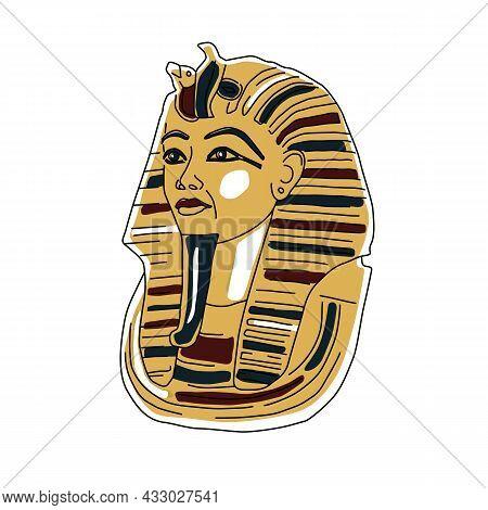 Egyptian Golden Pharaohs Mask Icon Flat Isolated On White Background Vector Illustration