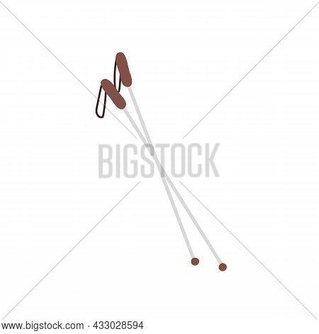 Vector Flat Cartoon Ski Poles Isolated On Empty Background-healthy Lifestyle, Outdoor Sports Activit