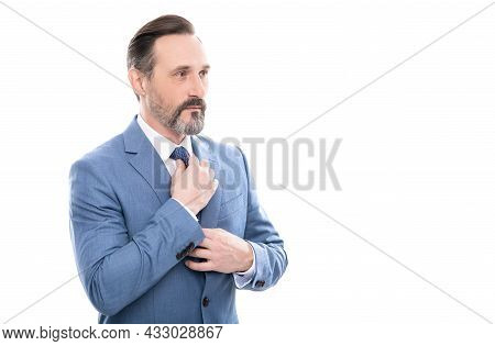 Mature Entrepreneur With Grizzled Hair In Suit Isolated On White Copy Space, Elegance