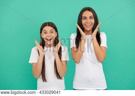 Amazed Teen Girl Child With Mom. Togetherness. Positive Emotions. Mothers Day.