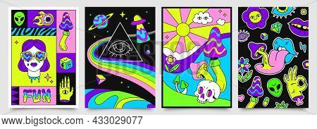 Retro Psychedelic Hippie Posters With Space, Mushrooms And Rainbows. 70s Abstract Covers With Skull,