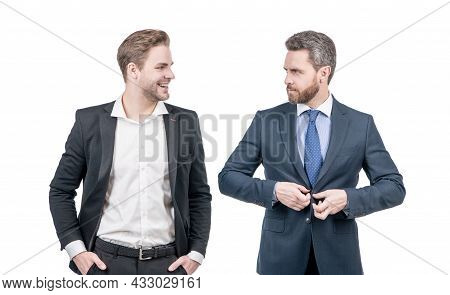 Two Businessmen In Formal Suit. Business Success. Confident Business Partners.