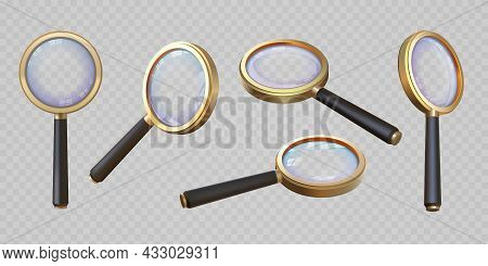 Realistic 3d Magnifying Glass Top And Angle View. Magnifier With Transparent Lens. Magnify Lupa, Zoo