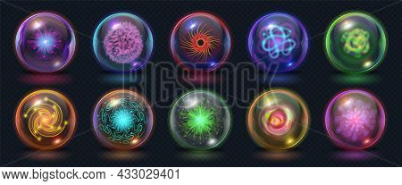 Realistic Magic Energy Balls With Fire, Lights And Lightning Effects. Glowing Power Orb With Plazma
