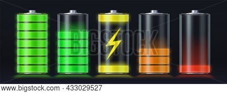 Realistic Battery Charging Empty To Full Energy Level. Glowing Smartphone Accumulator Load Icon With
