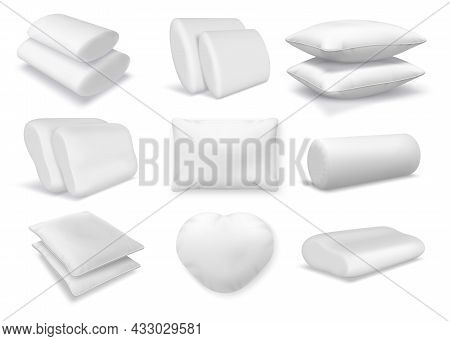 Realistic White Cotton Orthopedic Pillows, Square And Round Cushions. 3d Feather Fluffy Pillow And B