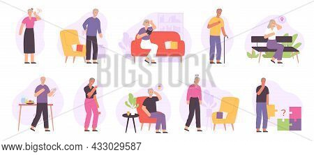 Senior People Joint Diseases, Health Problems, Alzheimer And Dementia. Elderly With Heart Ache, Memo