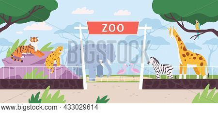 Cartoon Zoo Park Entrance Gate With Savannah And Jungle Animals. Flat Safari Landscape With Zebra, A