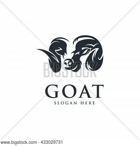 Head Goat Logo Design,vector Template Modern,silhouette Head Goat,farm Logo,animal Logo In White Bac