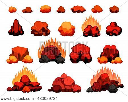 Cartoon Burning Bonfire With Hot Charcoal Pieces For Barbecue. Wood Coal Pile With Flame For Grill O