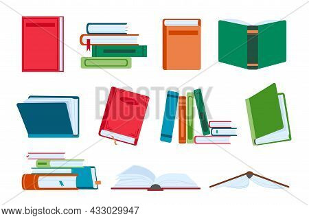Flat Open And Close Books, Library Piles And Stacks. Novel Book With Bookmark. Textbooks For Reading