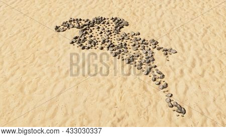 Concept conceptual stones on beach sand handmade symbol shape, golden sandy background, sign of a horse rider. 3d illustration metaphor for sport, competition,  training, relaxation,  hobby and fun