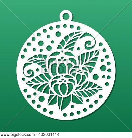 Laser Cut Coaster Or Decorative Pendant. Stencil For Cnc Cutting. Floral Art Deco Style, Mandala Des
