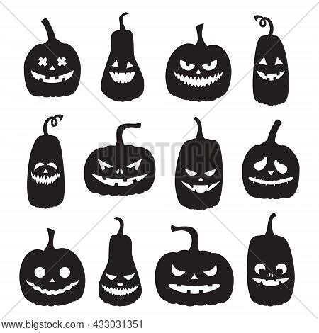A Set Of Black Pumpkin Silhouettes With Spooky Faces. Halloween Pumpkins With Different Facial Expre
