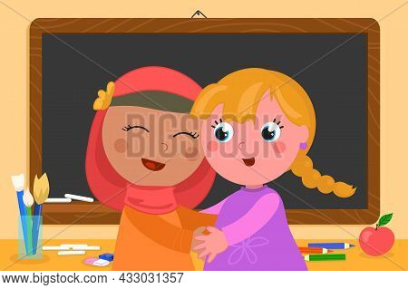 Muslim Girl And Caucasian Child Hugging Each Other At School With Friendship, Cartoon Vector Illustr